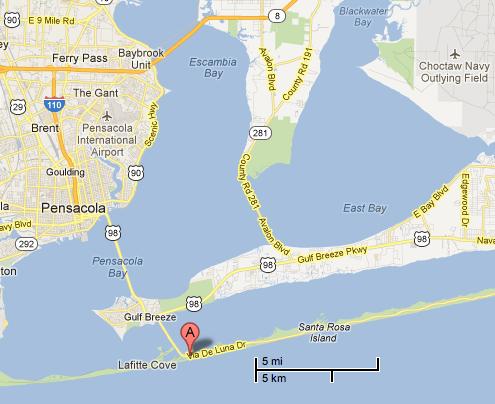Map Florida Pensacola.Pensacola Florida