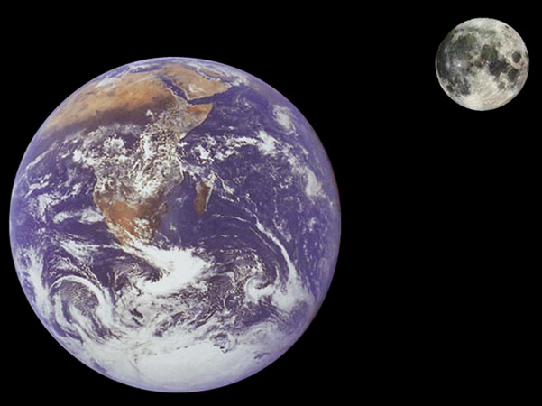 Moon and Earth to Scale
